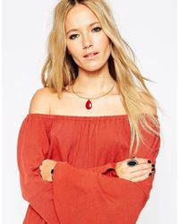 ASOS | Red Limited Edition 70's Teardrop Choker Necklace | Lyst