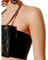 Moschino Black Quilted Nappa Leather Purse Top