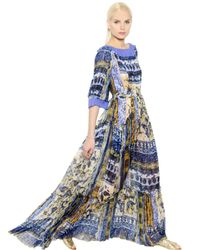 Alberta Ferretti Blue Printed Silk Chiffon Dress