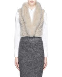 H Brand Natural 'grace' Fox Fur Collar Rabbit Cropped Gilet