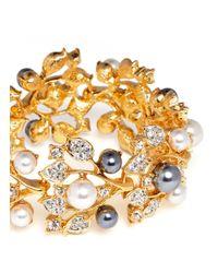 Kenneth Jay Lane | Metallic Crystal Pearl Vine Bracelet | Lyst