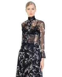 Rochas - Black Swallows Printed Silk Organza Shirt - Lyst
