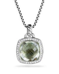 David Yurman Green Albion Pendant With Prasiolite And Diamonds