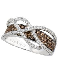Le Vian | Brown Chocolate And White Diamond Crossover Ring In 14k White Gold (1-1/10 Ct. T.w.) | Lyst