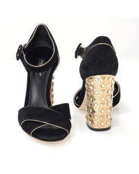 Dolce & Gabbana Metallic Sandal With Gold Heel