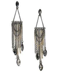 ABS By Allen Schwartz - Metallic Two-tone Stone Fringe Chandelier Earrings - Lyst