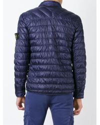 Stone Island | Blue Buttoned Padded Jacket for Men | Lyst