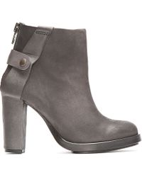 Surface To Air Gray Dark Grey Matte Leather Atik V1 Buckled Boots