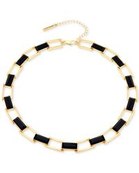 T Tahari | Black Links With Rectangle Stone Collar Necklace | Lyst