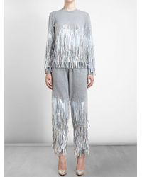 Ashish - Gray Fringed Sequin Tracksuit Bottoms - Lyst