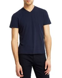 Kenneth Cole | Blue Solid V-neck Tee for Men | Lyst