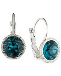 Nine West | Metallic Silver-tone Blue Round Drop Earrings | Lyst