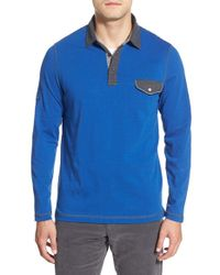 Bugatchi | Blue Long Sleeve Pocket Polo for Men | Lyst