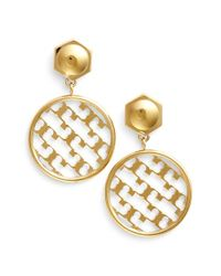 Tory Burch | Metallic 't' Open Drop Earrings - Shiny Gold | Lyst