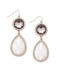 INC International Concepts - 14k Goldplated White Cabochon Teardrop Earrings - Lyst