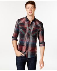 Guess | Black Lazer Plaid Button-front Shirt for Men | Lyst