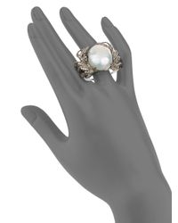 Bavna - Metallic 12-16mm Freshwater Baroque Pearl Diamond  Sterling Silver Crab Ring - Lyst