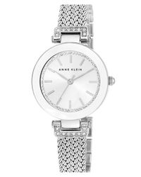 Anne Klein | Metallic Crystal Accent Mesh Strap Watch | Lyst