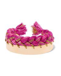Aurelie Bidermann - Metallic Braided Gold-plated Cotton Cuff - Lyst
