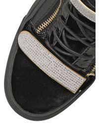 Giuseppe Zanotti Black Velvet Leather High Top Sneakers for men