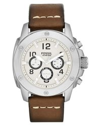Fossil | Metallic 'modern Machine' Chronograph Leather Strap Watch for Men | Lyst