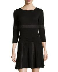 Max Studio - Gray Mixed Stripe Ribbed Knit Sweater Dress - Lyst