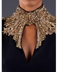 Alexander McQueen Black Embellished High Neck Gown