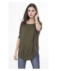 Express - Green Extreme Circle Hem Tunic Sweater - Lyst