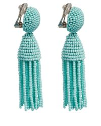 Oscar de la Renta | Blue Short Beaded Tassel Earrings | Lyst