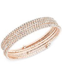Anne Klein Pink Rose Gold-tone Multi-row Rhinestone Flex Bracelet