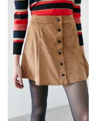 Glamorous - Brown Faux Suede A-line Skirt - Lyst