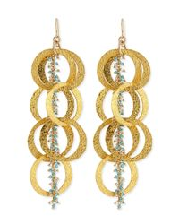 Devon Leigh | Metallic Beaded 18K Yellow Gold Plated Linked Circle Drop Earrings | Lyst