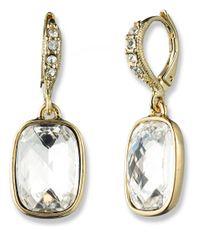 Givenchy Metallic Goldtone Rectangular Crystal Drop Earrings