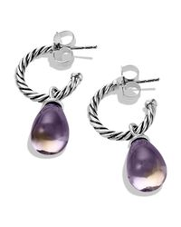 David Yurman Metallic Color Classics Bead Drop Earrings With Lavendar Moon Quartz