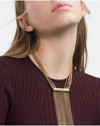 Zara | Metallic Multi Chain Necklace | Lyst