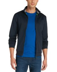 BOSS Green - Blue Cotton-blend Sweatshirt Jacket 'skibo' for Men - Lyst
