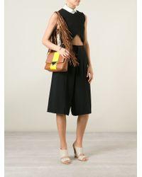 Sara Battaglia - Brown Stripe Teresa Leather Shoulder Bag - Lyst