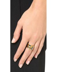 Astley Clarke - Metallic Gem Stack Ring Set - Black/gold - Lyst