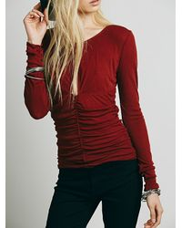 Free People Red Intimately Womens Delta Date Layering Top