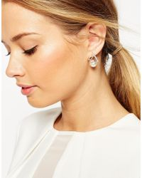 ASOS | Metallic 3d Triangle & Pearl Earrings | Lyst
