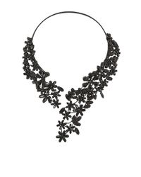 BCBGMAXAZRIA - Black Stone Floral Necklace - Lyst