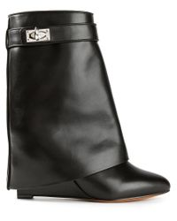 Givenchy | Black Shark Lock Leather Boots | Lyst