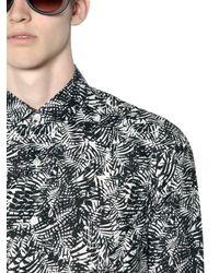 April77 Black Leaf Printed Washed Cotton Shirt for men