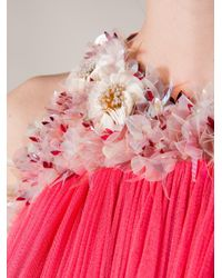 Delpozo Pink Tulle Rose Print Gown