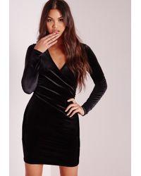 Missguided - Velvet Wrap Over Bodycon Dress Black - Lyst