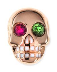 Sydney Evan | Multicolor 14k Rose Gold Gemstone Skull Single Stud Earring | Lyst