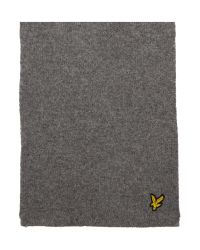 Lyle & Scott Gray Classic Ribbed Scarf for men