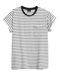 H&M White Striped T-shirt for men