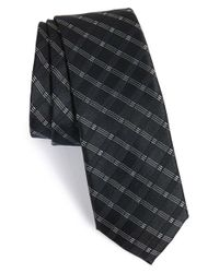 Calibrate Black 'bangka Grid' Silk Tie for men