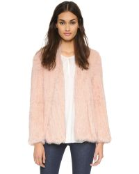 Nicholas | Pink Knitted Fur Jacket - Charcoal | Lyst